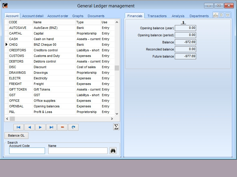 General Ledger management